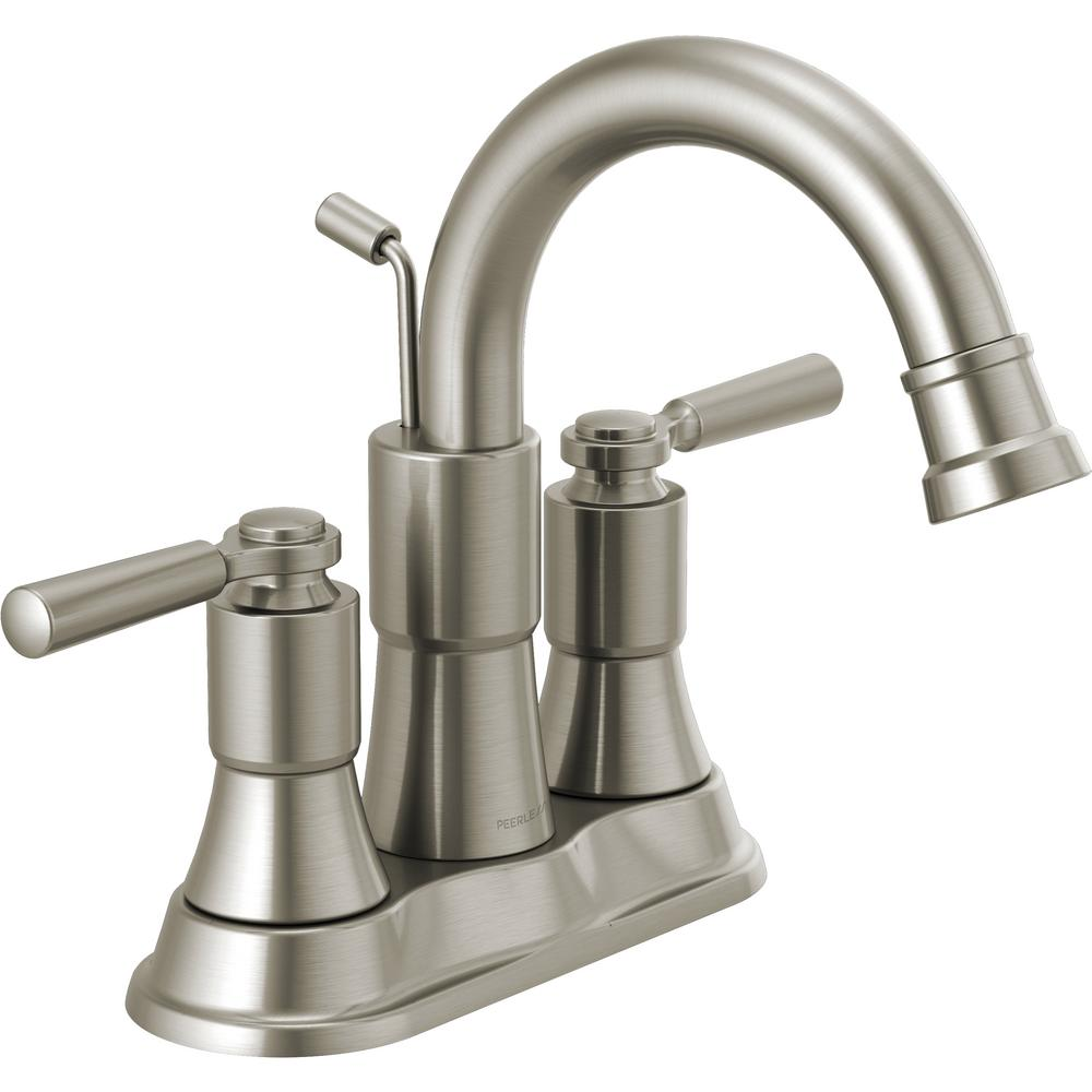 Peerless Westchester 4 in. Centerset 2-Handle Bathroom Faucet in Brushed Nickel