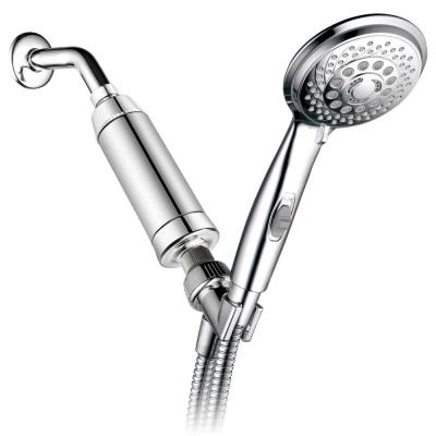 7-Spray 4 in. Single Wall Mount Handheld Rain Shower Head in Chrome