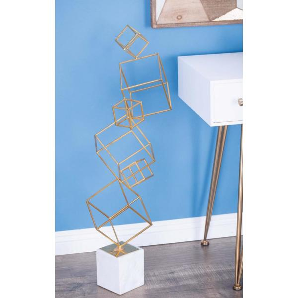 Litton Lane 36 in. Metal and Marble Cube Decorative Sculpture in