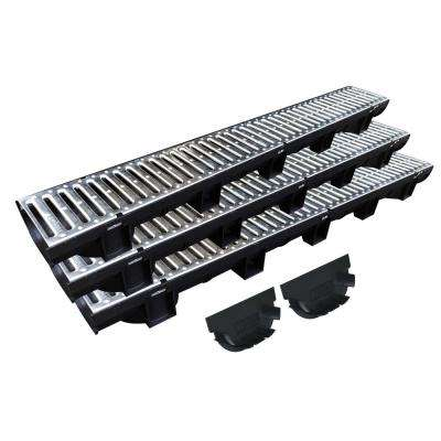 Easy Drain Compact Series 5.4 in. x 39.4 in. Modular Trench and Channel Drain Kit with Galvanized Steel Grate (3-Pack)