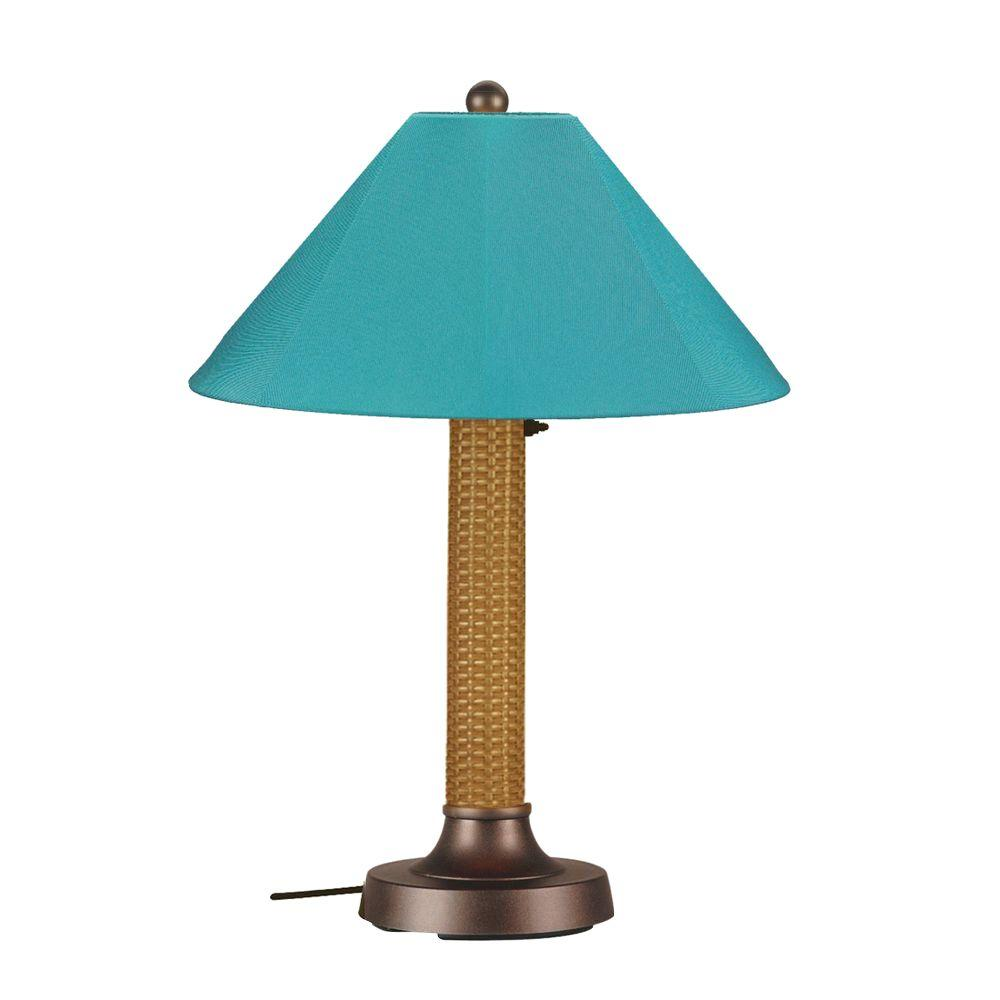 Bahama Weave 34 in. Mocha Cream Outdoor Table Lamp with Aruba