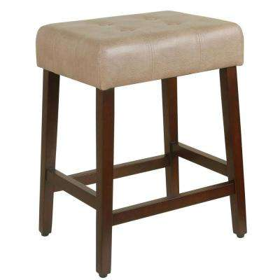 Tufted Faux Leather 24 in. Taupe Bar Stool