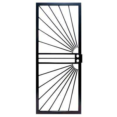 36 in. x 80 in. 469 Series Prehung Universal Hinge Outswing Sunburst Security Door in Black