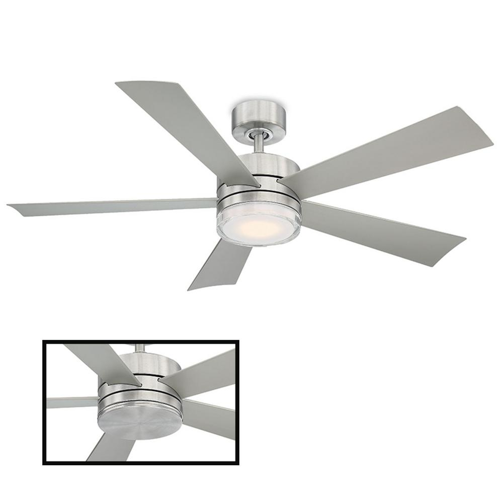 Modern Forms Wynd 52 in. LED Indoor/Outdoor Stainless Steel 5-Blade Smart Ceiling Fan with 3000K Light Kit and Wall Control