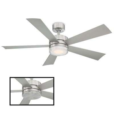 Wynd 52 in. LED Indoor/Outdoor Stainless Steel 5-Blade Smart Ceiling Fan with 3000K Light Kit and Wall Control
