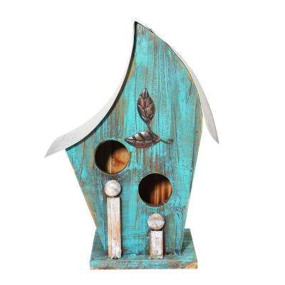 12 in. Tall Blue Artful Wooden Birdhouse