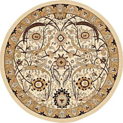 Isfahan Ivory 8 ft. x 8 ft. Round Area Rug
