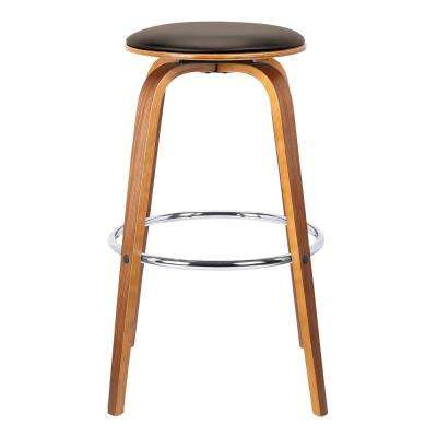 Harbor 26 in. Brown Faux Leather Mid-Century Swivel Counter Height Backless Barstool with Walnut Veneer