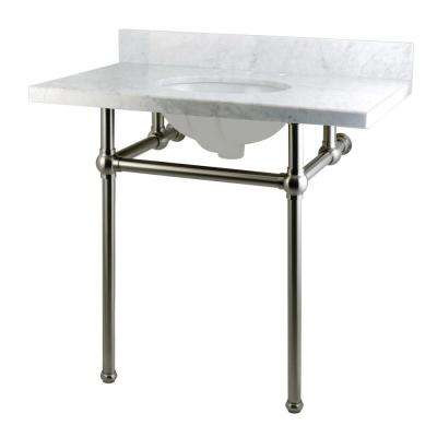 Washstand 36 in. Console Table in Carrara White with Metal Legs in Satin Nickel