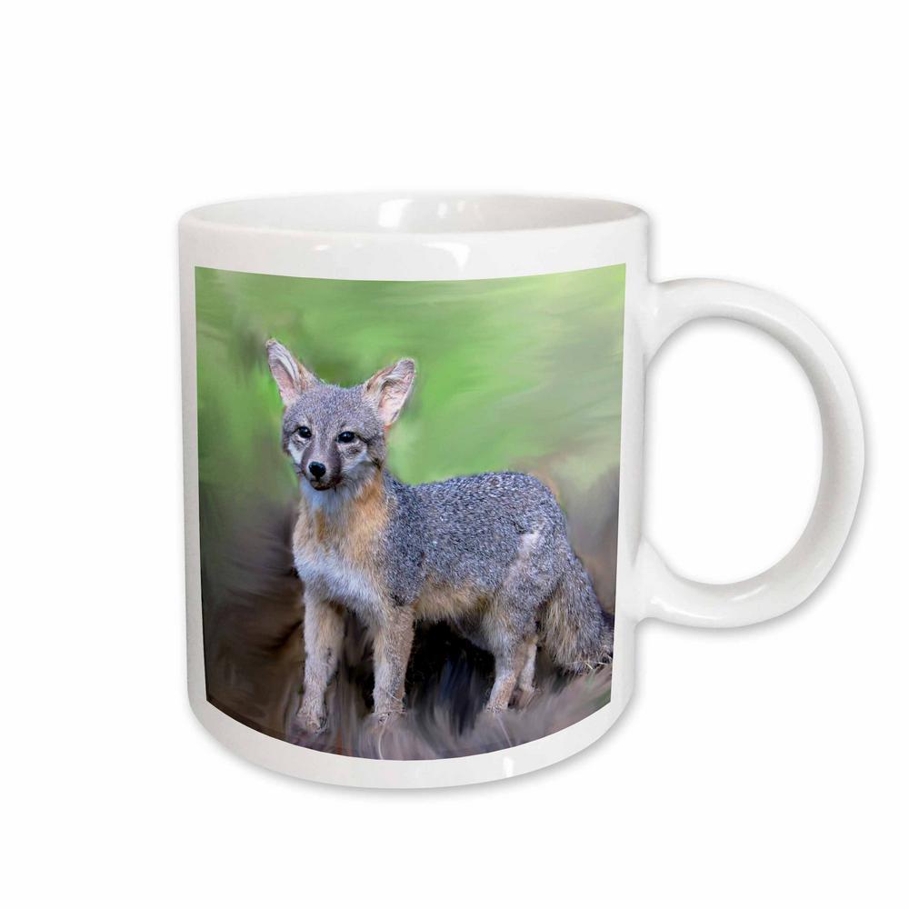Wild Animals 11 oz. White Ceramic Gray Fox Mug