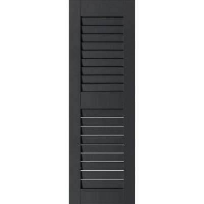 12 in. x 51 in. Exterior Real Wood Western Red Cedar Louvered Shutters Pair Black