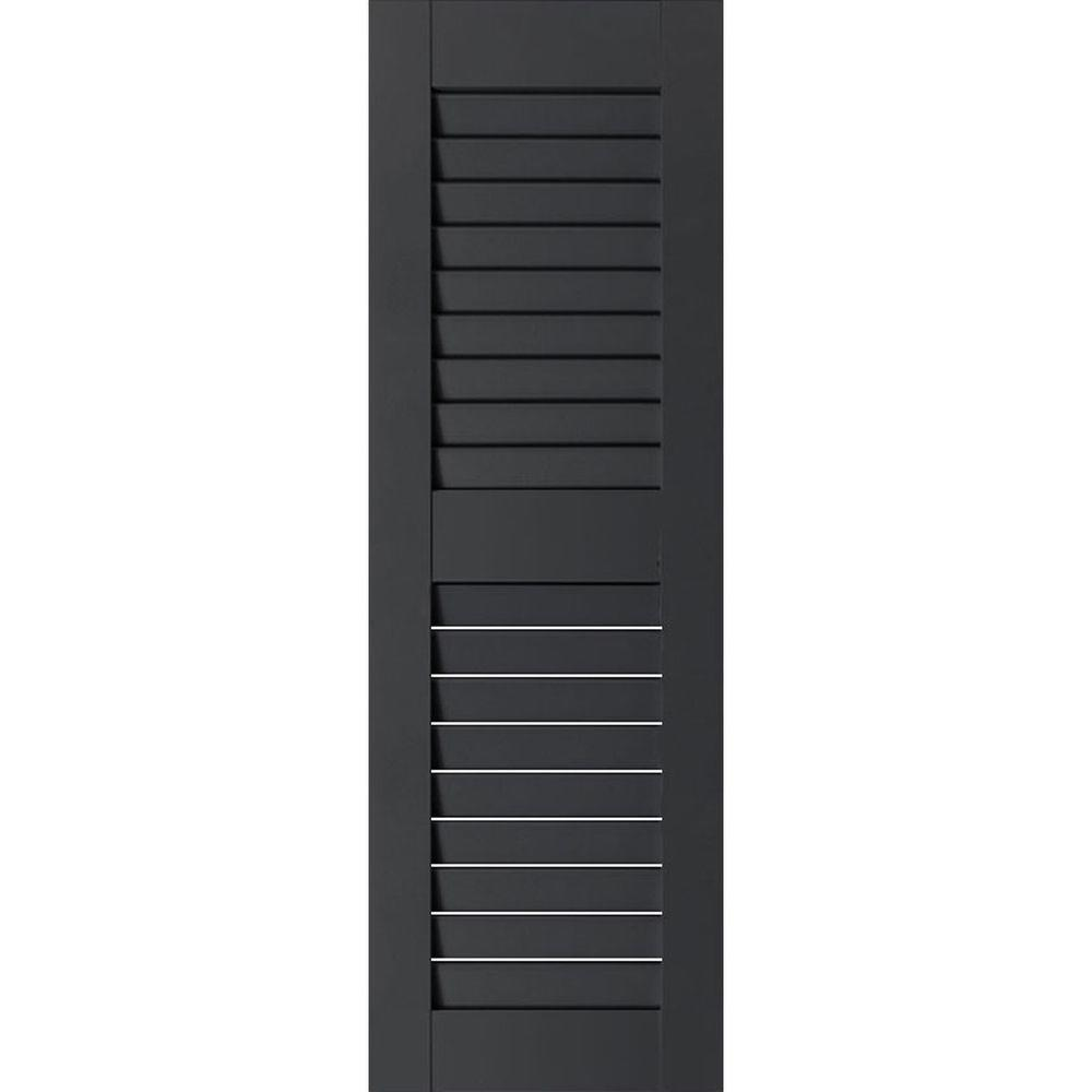 Ekena Millwork 15 in. x 66 in. Exterior Real Wood Sapele Mahogany Louvered Shutters Pair Black
