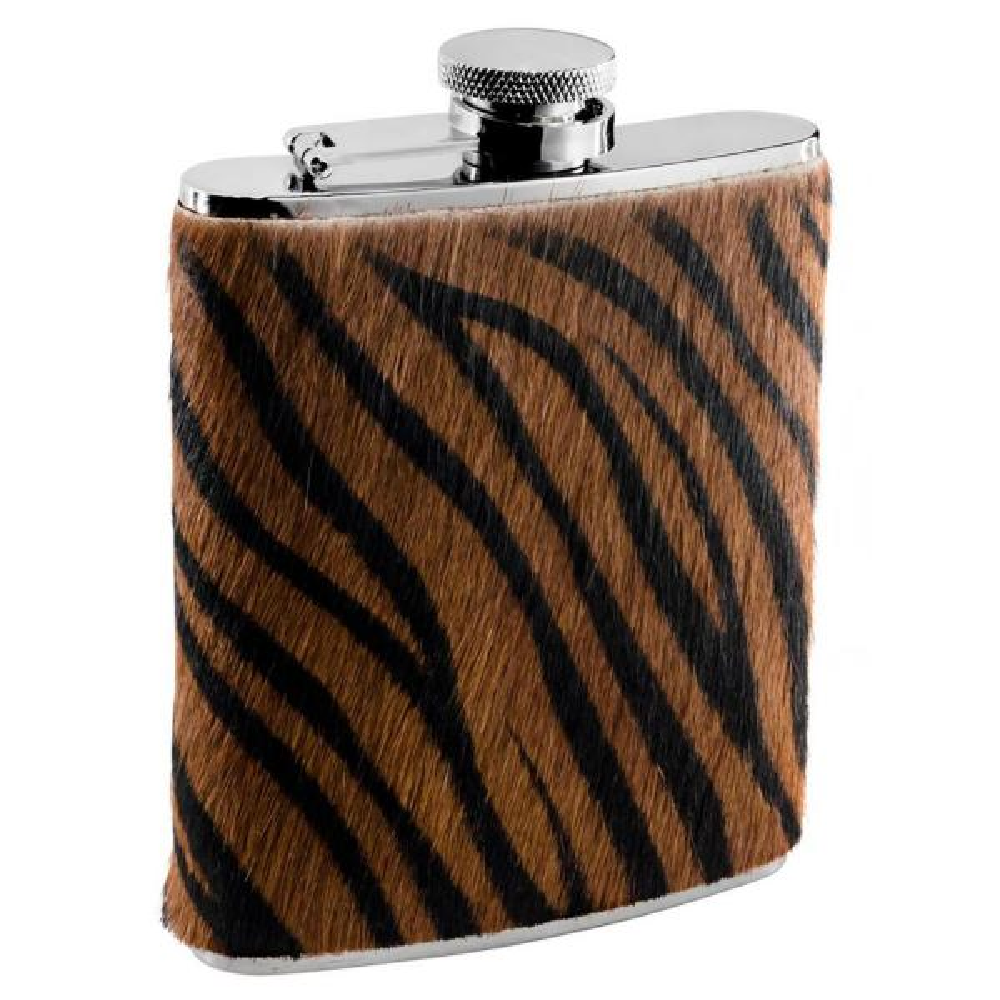 Visol Bengal X Synthetic Tiger Pattern Calf Hair Liquor Flask VF1285NP
