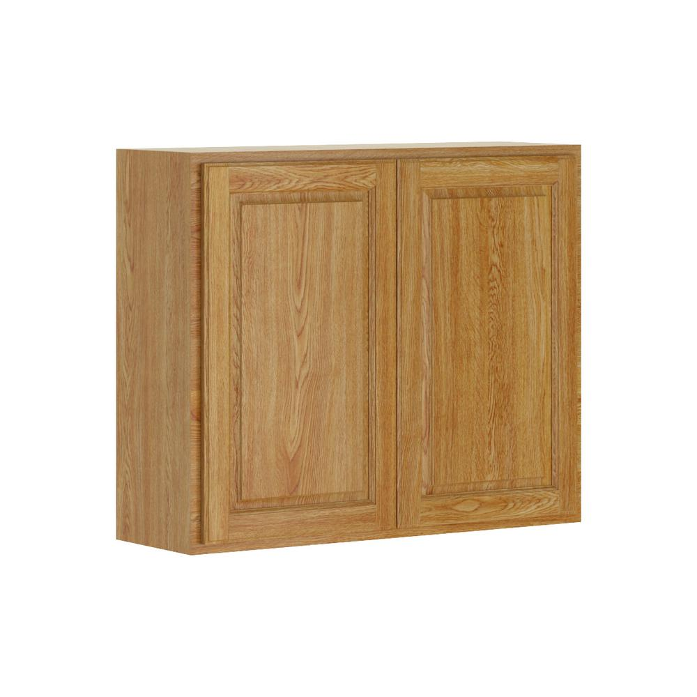 Madison Base Cabinets In Medium Oak: Hampton Bay Madison Assembled 36x30x12 In. Wall Cabinet In