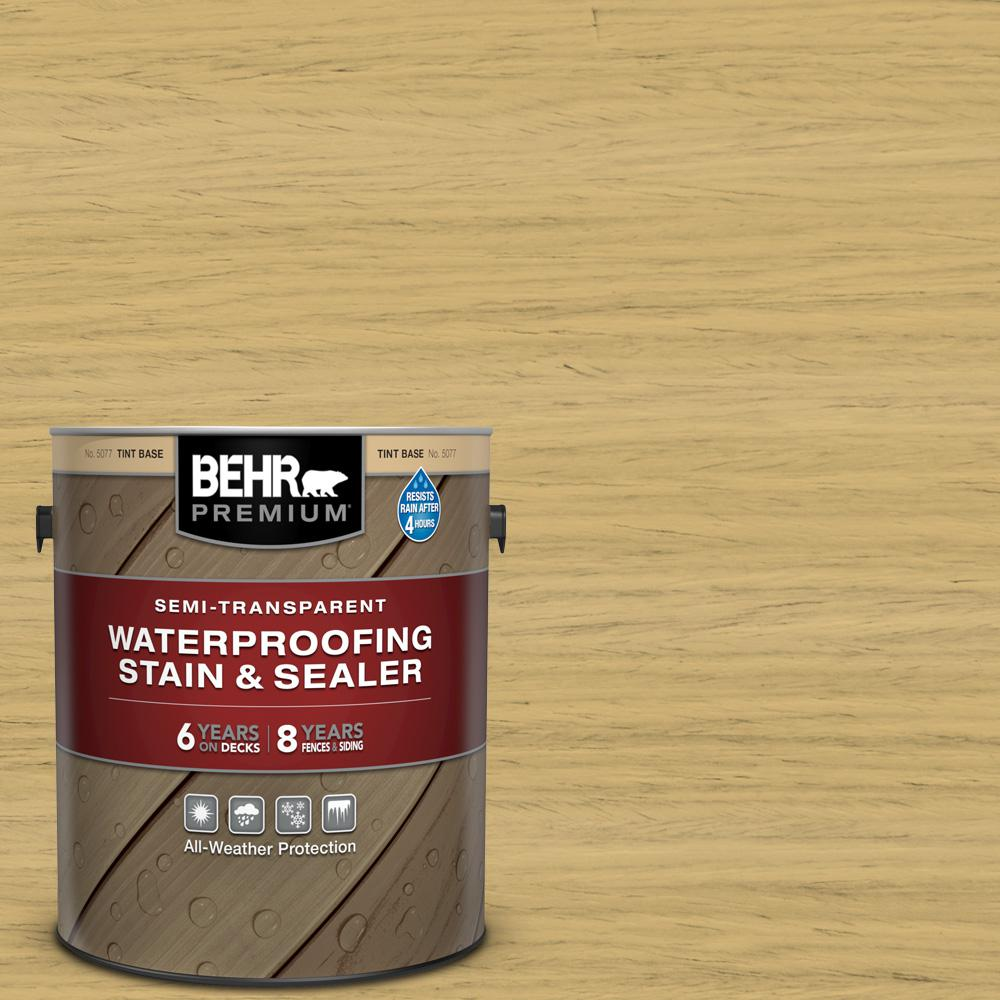 BEHR Premium 1 gal. #ST-139 Colonial Yellow Semi-Transparent Waterproofing Exterior Wood Stain and Sealer