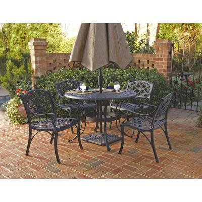 Sanibel 48 in. Black 5-Piece Cast Aluminum Round Outdoor Dining Set
