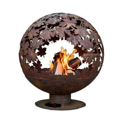 Leaf 24 in. x 28 in. Round Steel Wood Burning Fire Pit in Rust