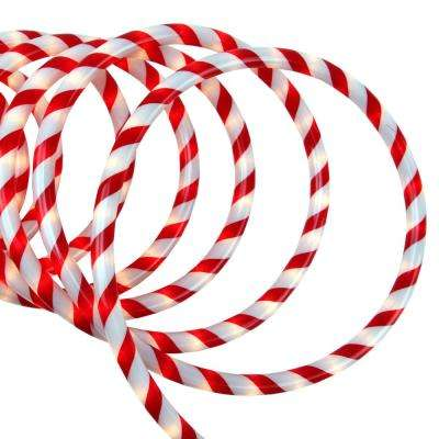 18 ft. 108-Light Red and White Striped Candy Cane Incandescent Christmas Rope Light