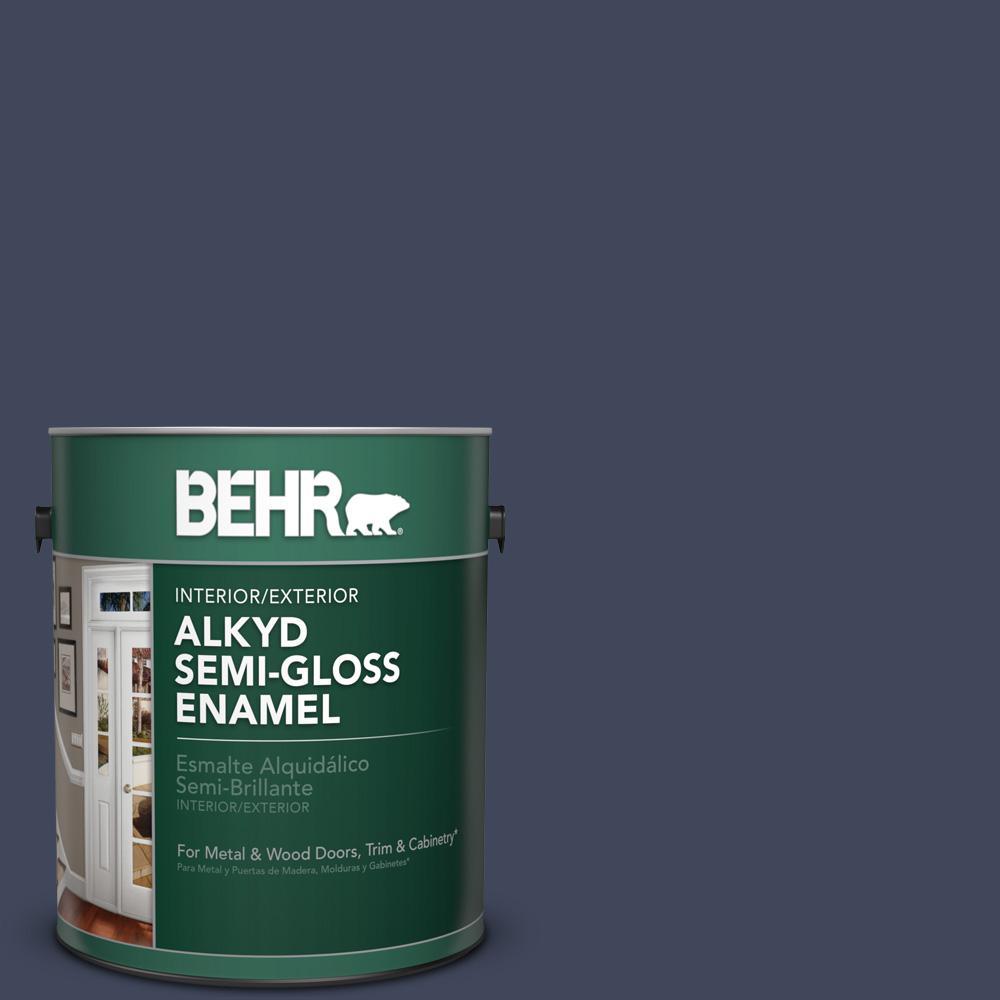 1 gal. #S530-7 Dark Navy Semi-Gloss Enamel Alkyd Interior/Exterior Paint