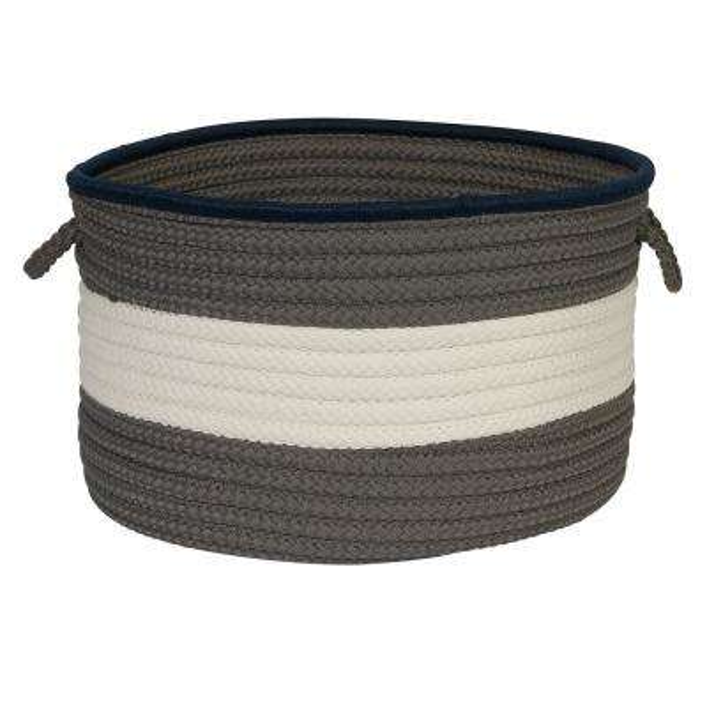 Color Pop Round Polypropylene Basket Navy/Gray 18 in. x 18 in. x 12 in.