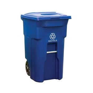 Toter 64 Gal Blue Rollout Recycling Container With