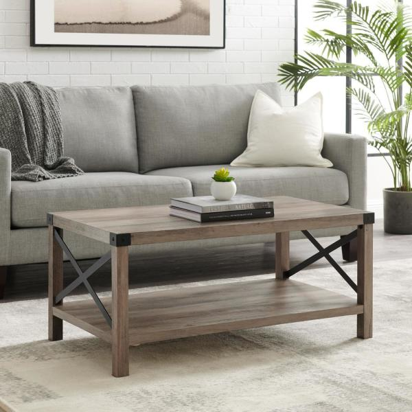 Urban Industrial 40 in. Gray Wash Medium Rectangle MDF Coffee Table with Shelf