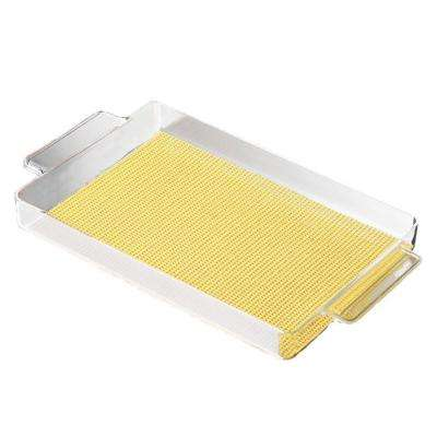 Fishnet Rectangular Serving Tray in Lemon