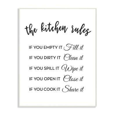 """10 in. x 15 in. """"The Kitchen Rules If You"""" by Lettered and Lined Printed Wood Wall Art"""