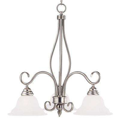 3-Light Pewter Chandelier with White Faux Alabaster Glass Shades