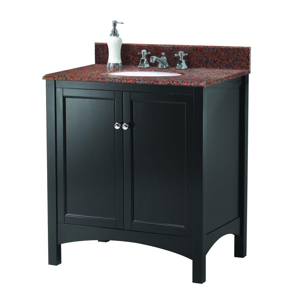 Home Decorators Collection Haven 31 in. W x 22 in. D Vanity in Espresso with Granite Vanity Top in Terra Cotta with White Sink