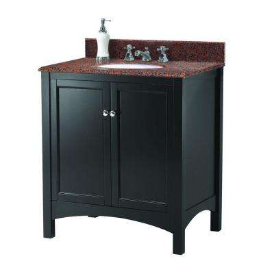Haven 31 in. W x 22 in. D Vanity in Espresso with Granite Vanity Top in Terra Cotta with White Sink