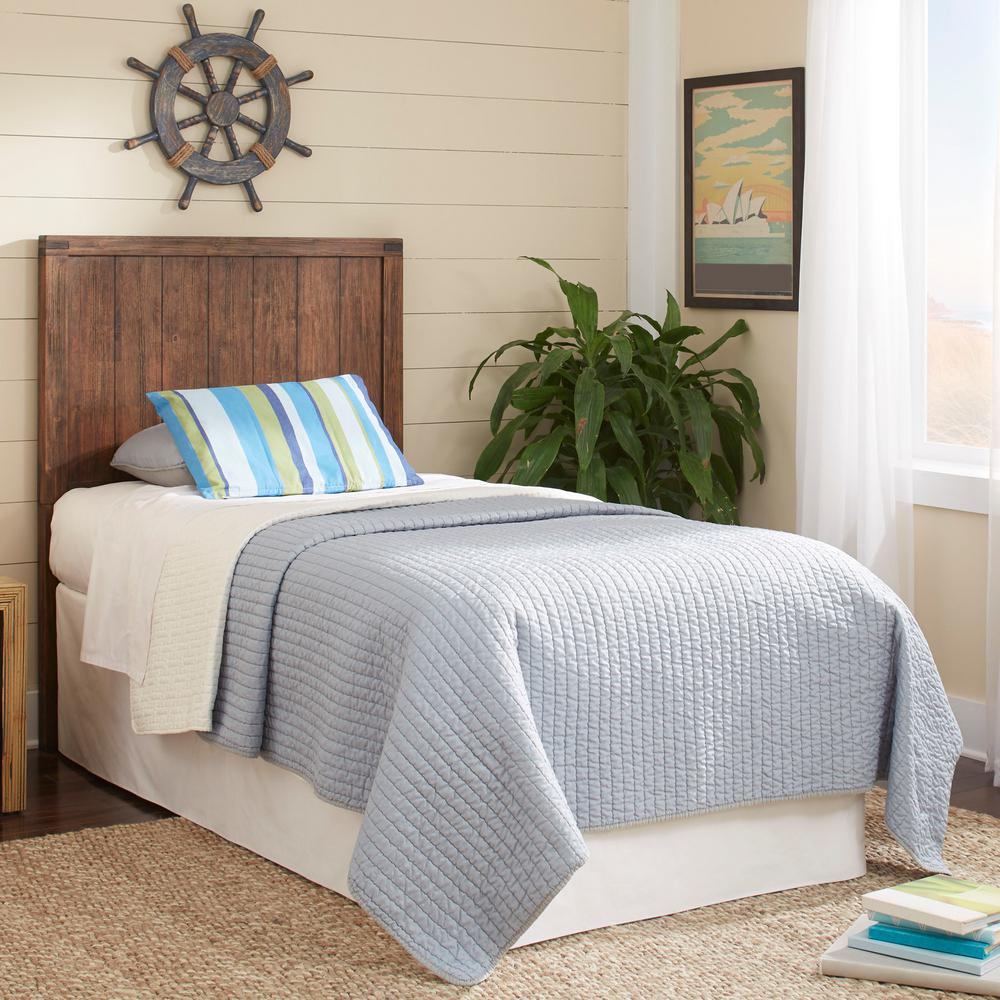 Fashion Bed Group Porter Brushed Walnut Twin Headboard And Footboard With Metal Duo Panels Natural Knotting Patina B22403 The Home Depot