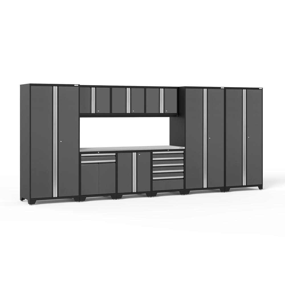 NewAge Products Pro 3.0 85.25 in. H x 192 in. W x 24 in. D 18-Gauge Welded Steel Garage Cabinet Set in Gray (10-Piece)