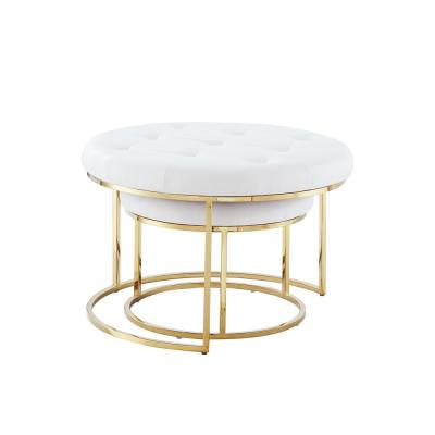 Draven Nesting Ottoman White/Gold PU Leather Button Tufted Metal Frame (Set of 2)