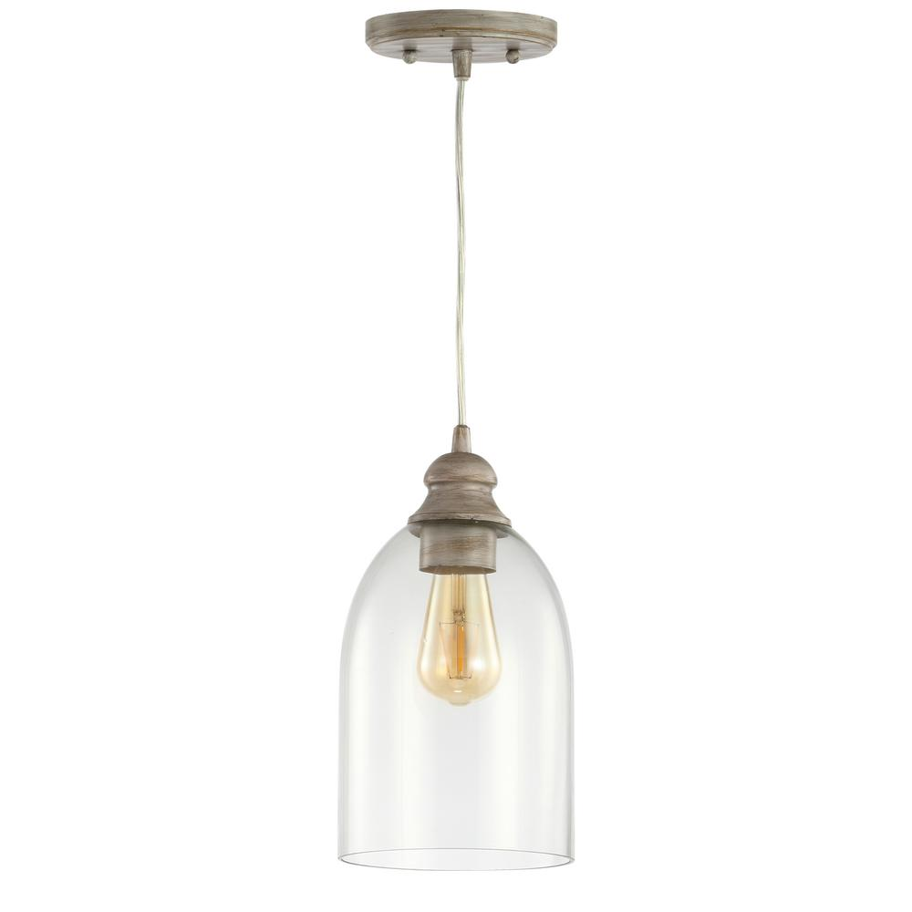 JONATHAN Y Fontaine 6.25 in. 1-Light Grey/Clear Adjustable Greige Glass LED Pendant