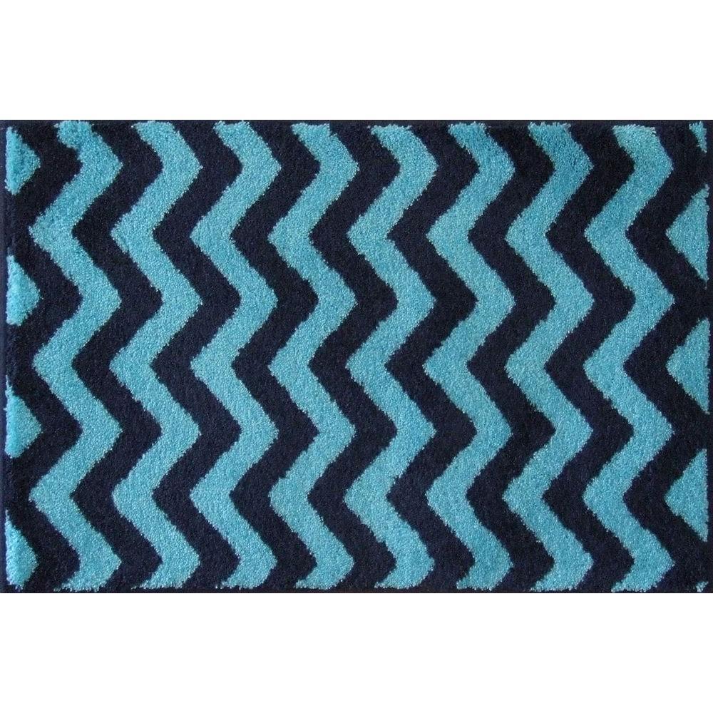 Grund Chevron Series Dark Blue 24 in. x 60 in. Premium Comfort Mat