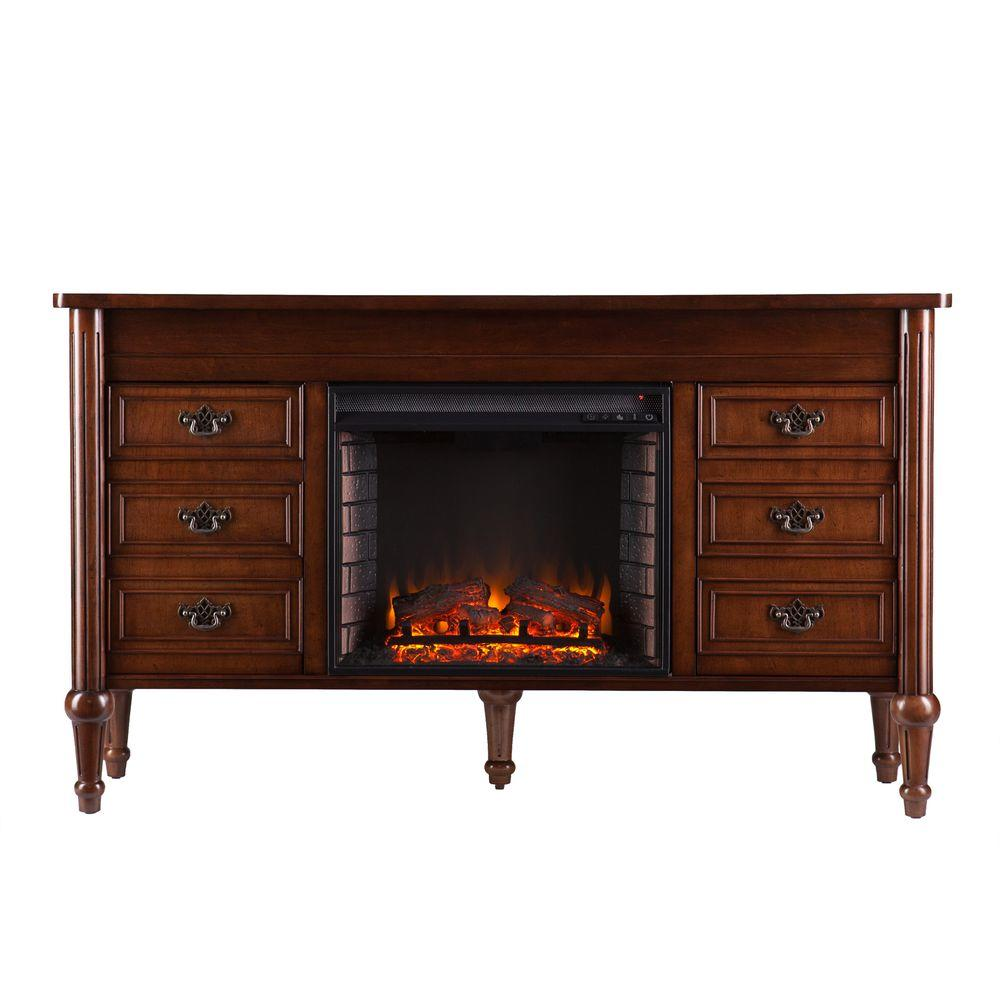 Southern Enterprises Luciano 60 in. Freestanding Console Electric Fireplace in Whiskey Maple
