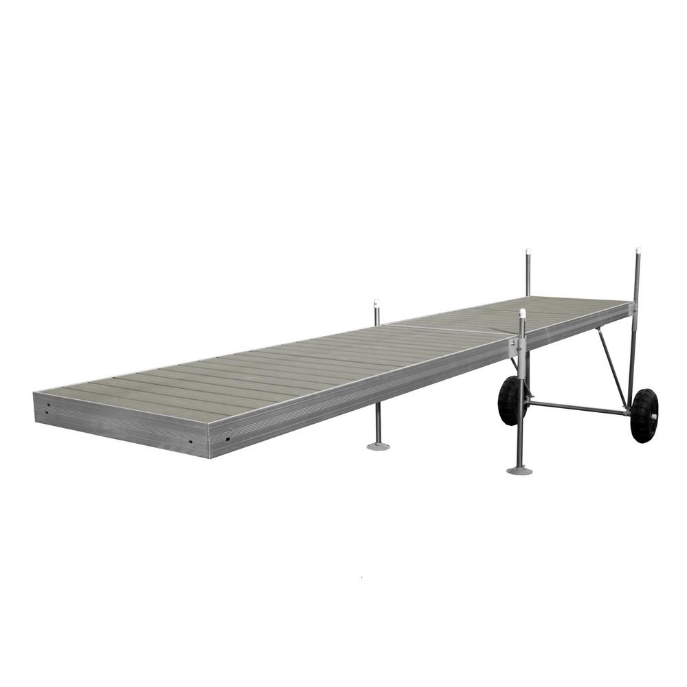Tommy Docks 20 ft  Roll-In-Dock Straight Aluminum Frame with Removable  Decking Complete Dock Package