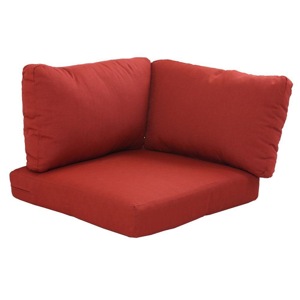 Hampton Bay Beverly Cardinal Replacement 3 Piece Outdoor Corner Chair Cushion Set