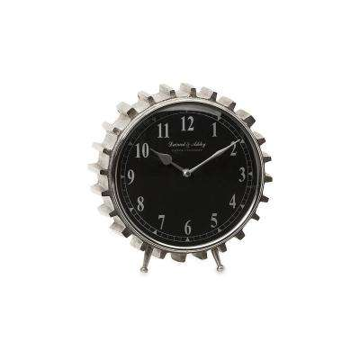 Lyndon Black and Silver Round Table Clock