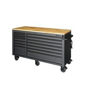 Husky 62 inch 14-Drawer Mobile Work Bench with Adjustable-Height Solid Wood Top, Matte Black by Husky