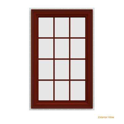 35.5 in. x 47.5 in. V-4500 Series Red Painted Vinyl Left-Handed Casement Window with Colonial Grids/Grilles