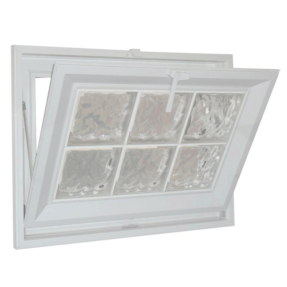 Hy-Lite 31 in. x 37 in. Glacier Pattern 6 in. Acrylic Block White Vinyl Fin Hopper Window with White Grout-DISCONTINUED