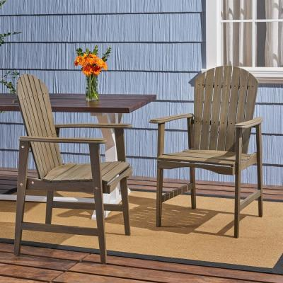 Malibu Grey Solid Wood Outdoor Dining Chairs (2-Pack)