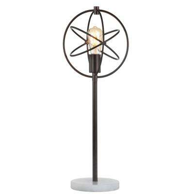 Atomic Caged 26.5 in. Edison Bulb Metal/Marble Modern LED Table Lamp, Oil Rubbed Bronze