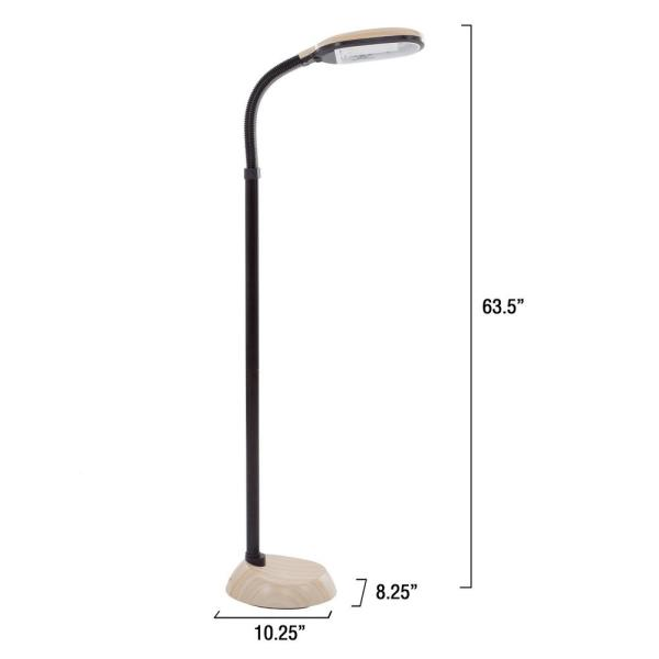 Lavish Home 63 5 In Natural Full Spectrum Sunlight Gooseneck Floor Lamp In Light Woodgrain W020106 The Home Depot