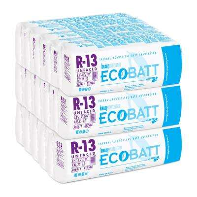 R-13 Unfaced Fiberglass Insulation EcoBatt 3-1/2 in. x 15 in. x 105 in. (15-Bags)