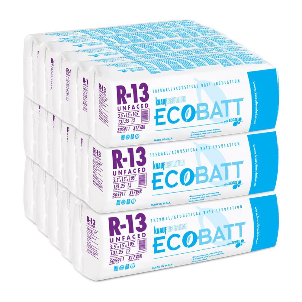 R-13 EcoBatt Unfaced Fiberglass Insulation Batt 3-1/2 in. x 15 in. x 105 in. (15-Bags)