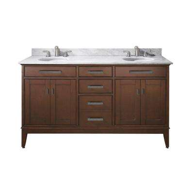 Madison 61 in. W x 22 in. D x 35 in. H Vanity in Tobacco with Marble Vanity Top in Carrera White and White Basins