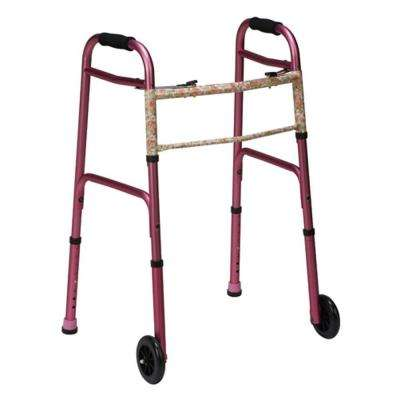 Two-Button Release Folding Walker with Wheels in Pink/Floral